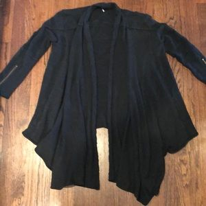 Free people cardigan s zipper sleeves black womens